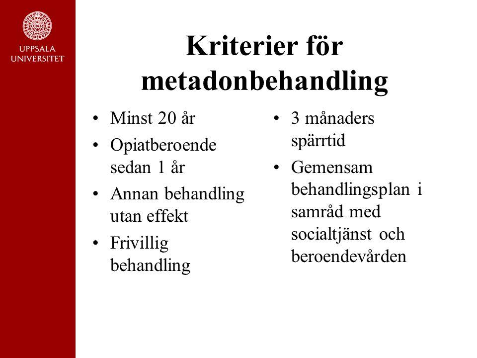 Kriterier för metadonbehandling Minst 20 år Opiatberoende sedan 1 år Annan behandling utan effekt Frivillig behandling 3 månaders spärrtid Gemensam behandlingsplan i samråd med socialtjänst och beroendevården