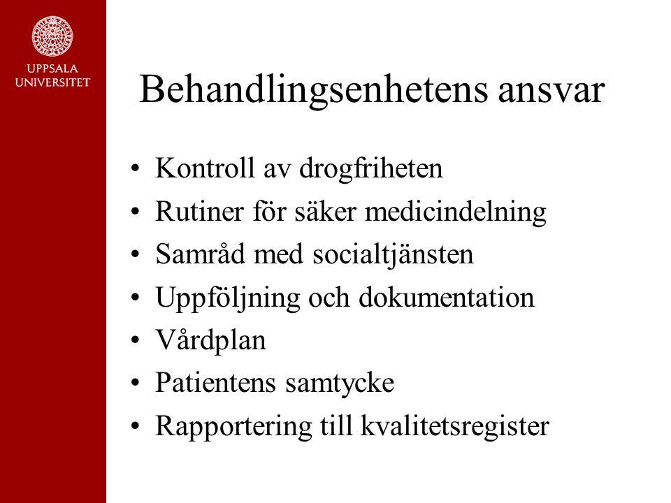 Behandlingsenhetens ansvar Kontroll av drogfriheten Rutiner för säker medicindelning Samråd med socialtjänsten Uppföljning och dokumentation Vårdplan Patientens samtycke Rapportering till kvalitetsregister