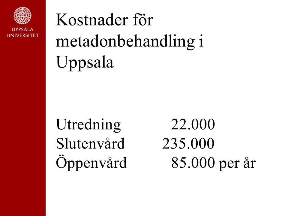 Kostnader för metadonbehandling i Uppsala Utredning22.000 Slutenvård 235.000 Öppenvård 85.000 per år
