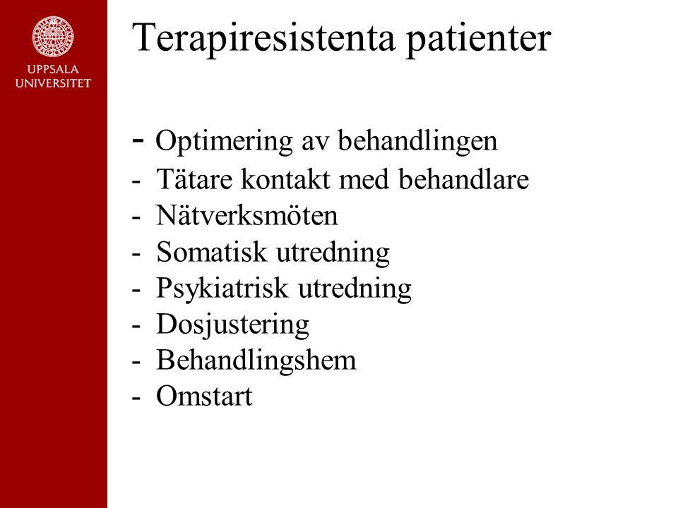 Terapiresistenta patienter - Optimering av behandlingen - Tätare kontakt med behandlare - Nätverksmöten - Somatisk utredning - Psykiatrisk utredning - Dosjustering - Behandlingshem - Omstart