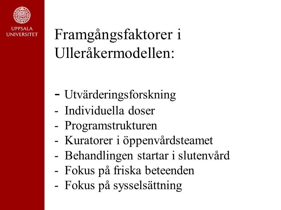 Framgångsfaktorer i Ulleråkermodellen: - Utvärderingsforskning - Individuella doser - Programstrukturen - Kuratorer i öppenvårdsteamet - Behandlingen startar i slutenvård - Fokus på friska beteenden - Fokus på sysselsättning