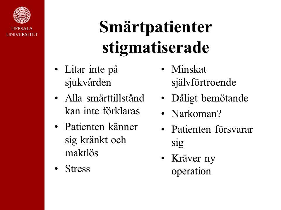Smärtpatienter stigmatiserade Litar inte på sjukvården Alla smärttillstånd kan inte förklaras Patienten känner sig kränkt och maktlös Stress Minskat självförtroende Dåligt bemötande Narkoman.