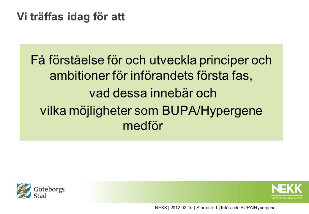 Få förståelse för och utveckla principer och ambitioner för införandets första fas, vad dessa innebär och vilka möjligheter som BUPA/Hypergene medför Vi träffas idag för att NEKK | 2012-02-10 | Stormöte 1 | Införande BUPA/Hypergene