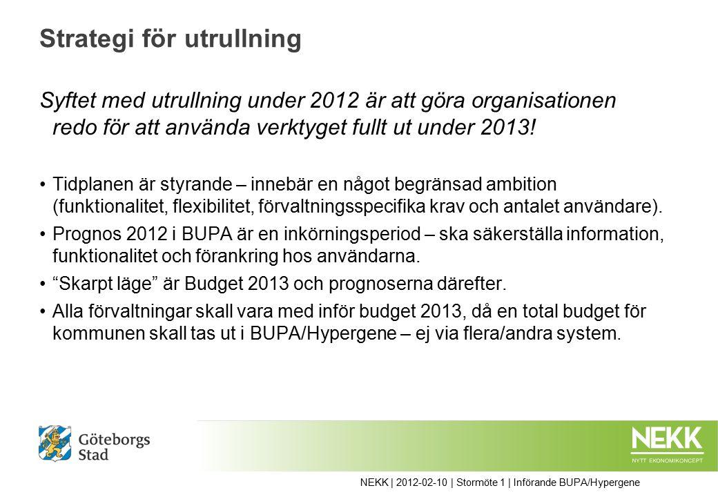 Strategi för utrullning Syftet med utrullning under 2012 är att göra organisationen redo för att använda verktyget fullt ut under 2013.