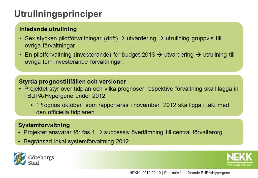 Utrullningsprinciper Inledande utrullning Sex stycken pilotförvaltningar (drift)  utvärdering  utrullning gruppvis till övriga förvaltningar En pilotförvaltning (investerande) för budget 2013  utvärdering  utrullning till övriga fem investerande förvaltningar.