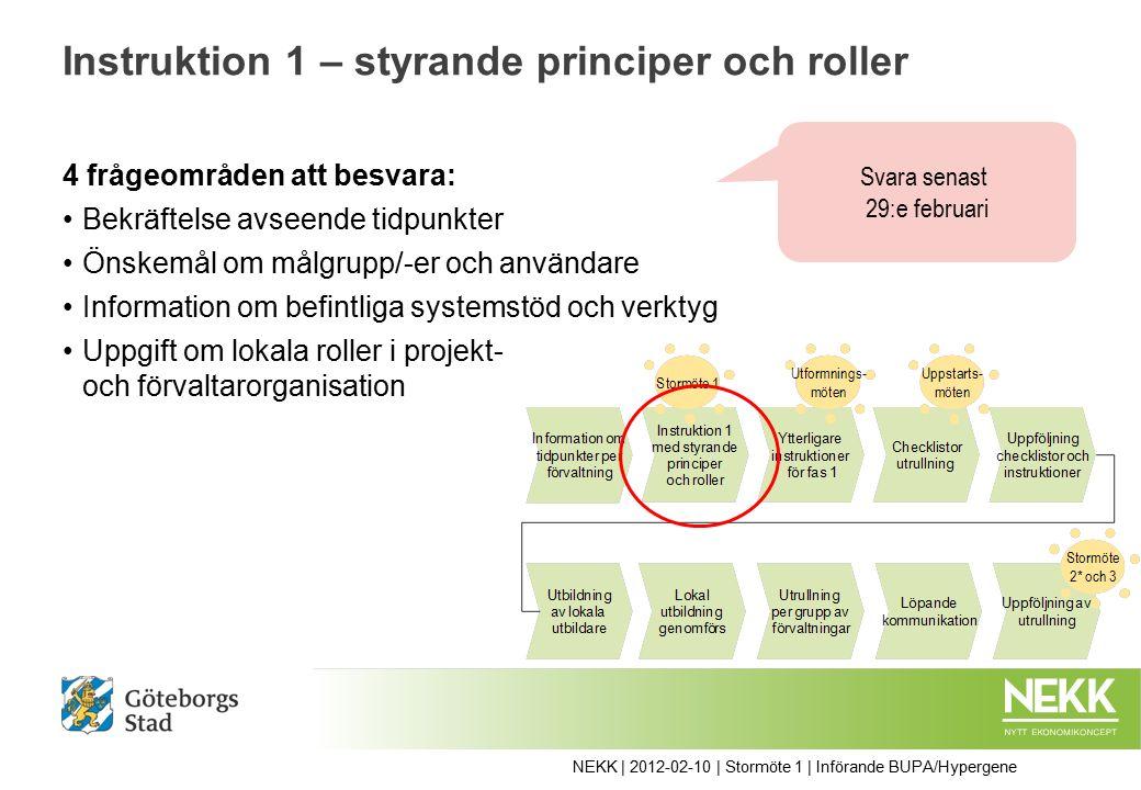 Instruktion 1 – styrande principer och roller 4 frågeområden att besvara: Bekräftelse avseende tidpunkter Önskemål om målgrupp/-er och användare Information om befintliga systemstöd och verktyg Uppgift om lokala roller i projekt- och förvaltarorganisation NEKK | 2012-02-10 | Stormöte 1 | Införande BUPA/Hypergene Svara senast 29:e februari