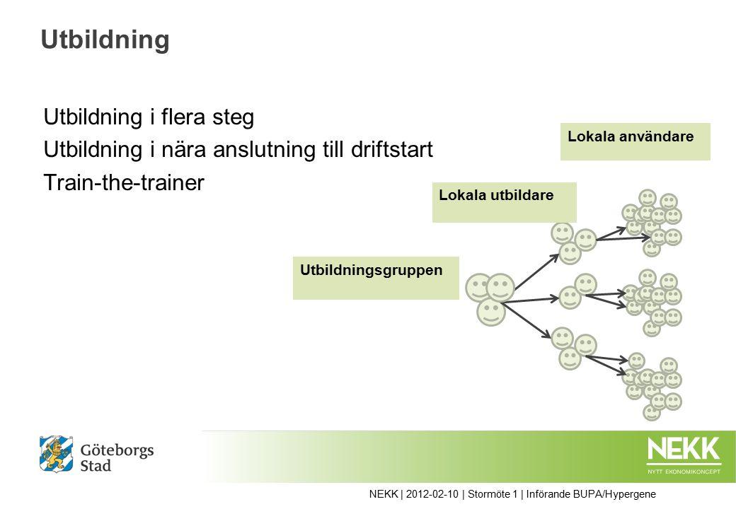 NEKK | 2012-02-10 | Stormöte 1 | Införande BUPA/Hypergene Utbildning Utbildning i flera steg Utbildning i nära anslutning till driftstart Train-the-trainer Utbildningsgruppen Lokala utbildare Lokala användare