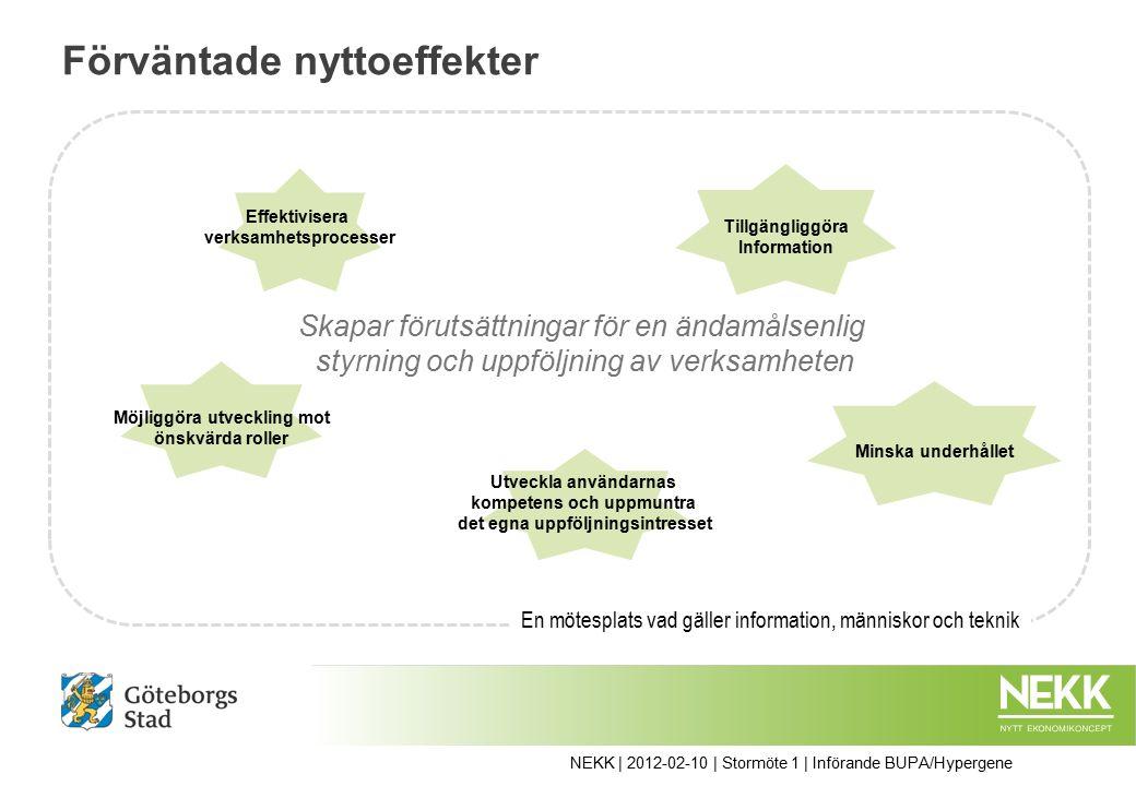 Förväntade nyttoeffekter Effektivisera verksamhetsprocesser Minska underhållet Möjliggöra utveckling mot önskvärda roller Utveckla användarnas kompetens och uppmuntra det egna uppföljningsintresset Tillgängliggöra Information Skapar förutsättningar för en ändamålsenlig styrning och uppföljning av verksamheten En mötesplats vad gäller information, människor och teknik NEKK | 2012-02-10 | Stormöte 1 | Införande BUPA/Hypergene