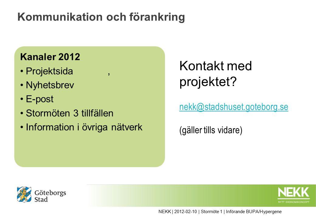 Kommunikation och förankring Kanaler 2012 Projektsida, Nyhetsbrev E-post Stormöten 3 tillfällen Information i övriga nätverk Kontakt med projektet.