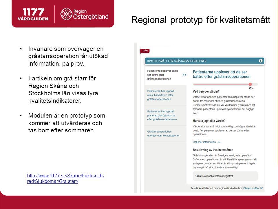 Regional prototyp för kvalitetsmått Invånare som överväger en gråstarrsoperation får utökad information, på prov. I artikeln om grå starr för Region S