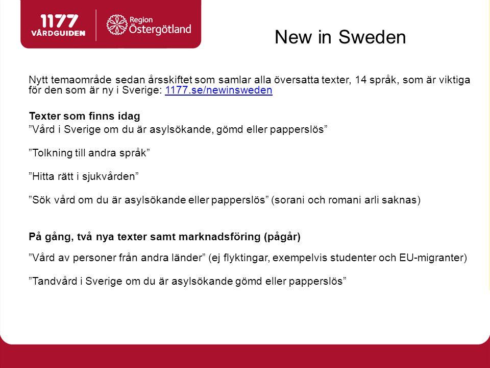 New in Sweden Nytt temaområde sedan årsskiftet som samlar alla översatta texter, 14 språk, som är viktiga för den som är ny i Sverige: 1177.se/newinsw
