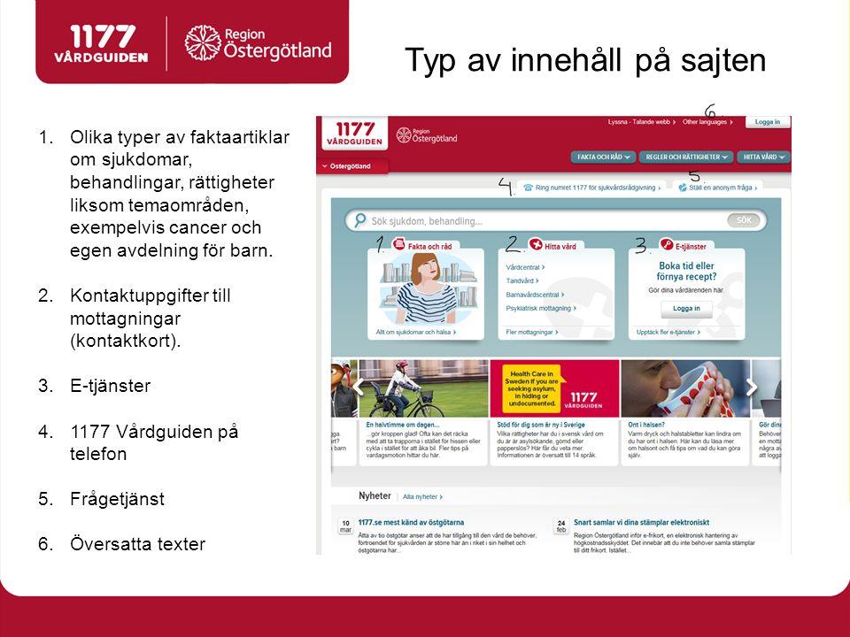 Typ av innehåll på sajten 1.Olika typer av faktaartiklar om sjukdomar, behandlingar, rättigheter liksom temaområden, exempelvis cancer och egen avdelning för barn.