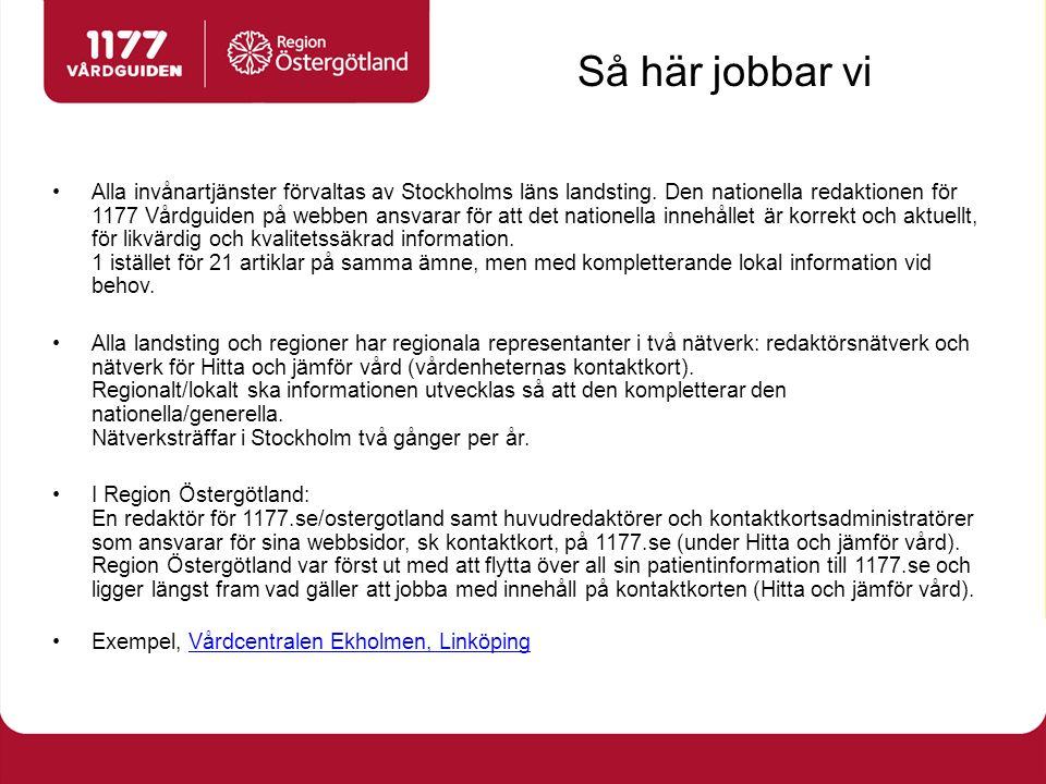 Så här jobbar vi Alla invånartjänster förvaltas av Stockholms läns landsting. Den nationella redaktionen för 1177 Vårdguiden på webben ansvarar för at