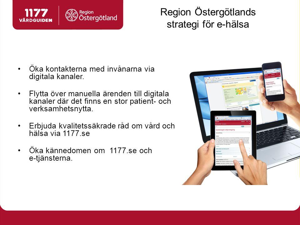 Region Östergötlands strategi för e-hälsa Öka kontakterna med invånarna via digitala kanaler. Flytta över manuella ärenden till digitala kanaler där d