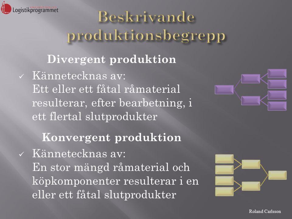 Divergent produktion Kännetecknas av: Ett eller ett fåtal råmaterial resulterar, efter bearbetning, i ett flertal slutprodukter Konvergent produktion Kännetecknas av: En stor mängd råmaterial och köpkomponenter resulterar i en eller ett fåtal slutprodukter