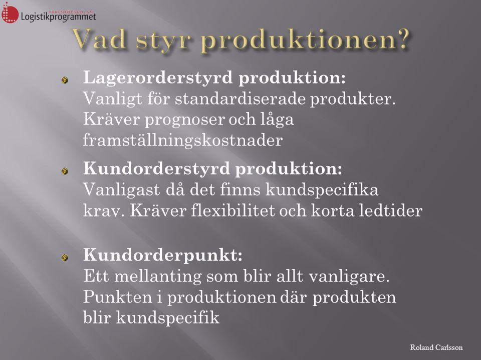 Roland Carlsson Lagerorderstyrd produktion: Vanligt för standardiserade produkter.