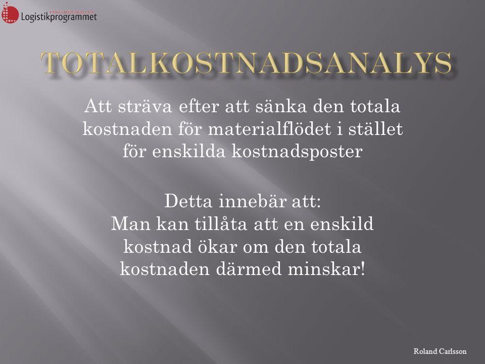 Roland Carlsson Att sträva efter att sänka den totala kostnaden för materialflödet i stället för enskilda kostnadsposter Detta innebär att: Man kan tillåta att en enskild kostnad ökar om den totala kostnaden därmed minskar!