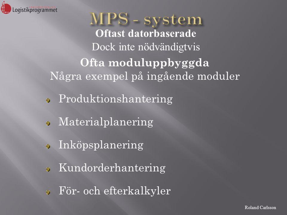 Roland Carlsson Ofta moduluppbyggda Några exempel på ingående moduler Produktionshantering Materialplanering Inköpsplanering Kundorderhantering För- och efterkalkyler Oftast datorbaserade Dock inte nödvändigtvis