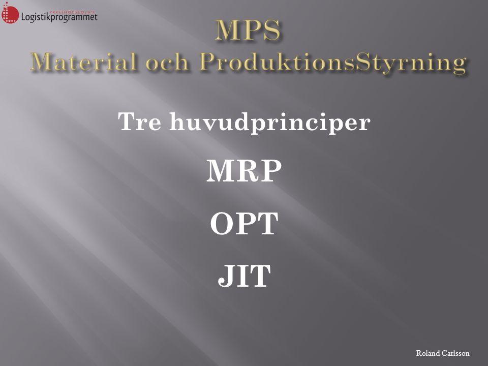 Roland Carlsson Tre huvudprinciper MRP OPT JIT