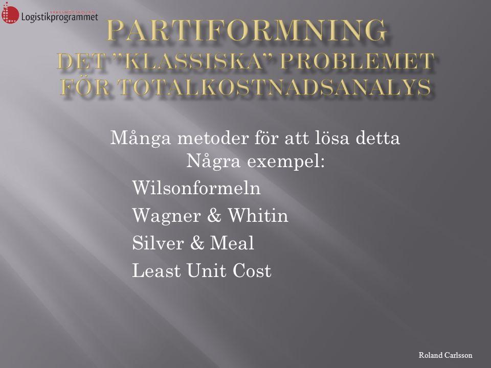 Roland Carlsson Många metoder för att lösa detta Några exempel: Wilsonformeln Wagner & Whitin Silver & Meal Least Unit Cost