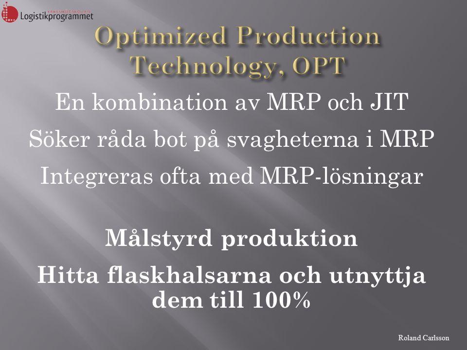 Roland Carlsson En kombination av MRP och JIT Söker råda bot på svagheterna i MRP Integreras ofta med MRP-lösningar Målstyrd produktion Hitta flaskhalsarna och utnyttja dem till 100%