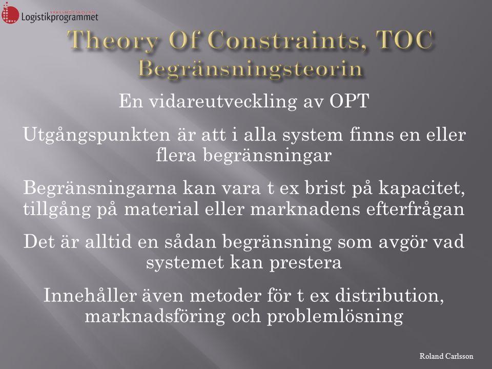Roland Carlsson En vidareutveckling av OPT Utgångspunkten är att i alla system finns en eller flera begränsningar Begränsningarna kan vara t ex brist på kapacitet, tillgång på material eller marknadens efterfrågan Det är alltid en sådan begränsning som avgör vad systemet kan prestera Innehåller även metoder för t ex distribution, marknadsföring och problemlösning