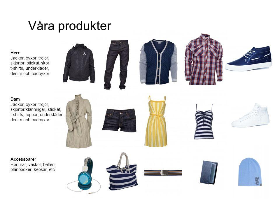 Dam Jackor, byxor, tröjor, skjortor/klänningar, stickat, t-shirts, toppar, underkläder, denim och badbyxor Accessoarer Hörlurar, väskor, bälten, plånb