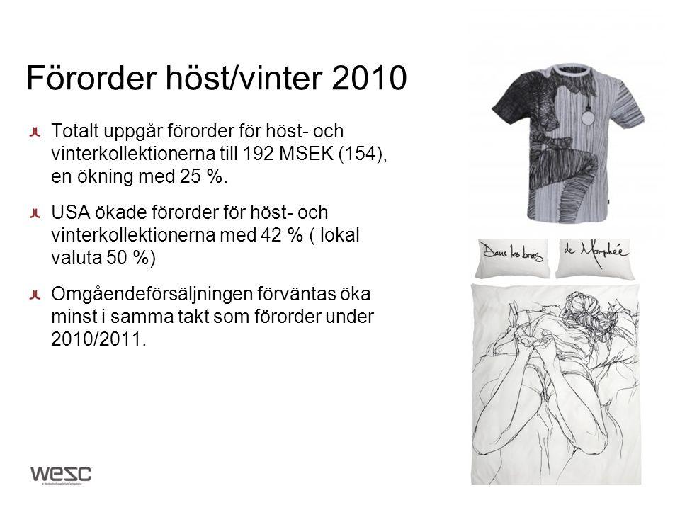 Förorder höst/vinter 2010 Totalt uppgår förorder för höst- och vinterkollektionerna till 192 MSEK (154), en ökning med 25 %. USA ökade förorder för hö