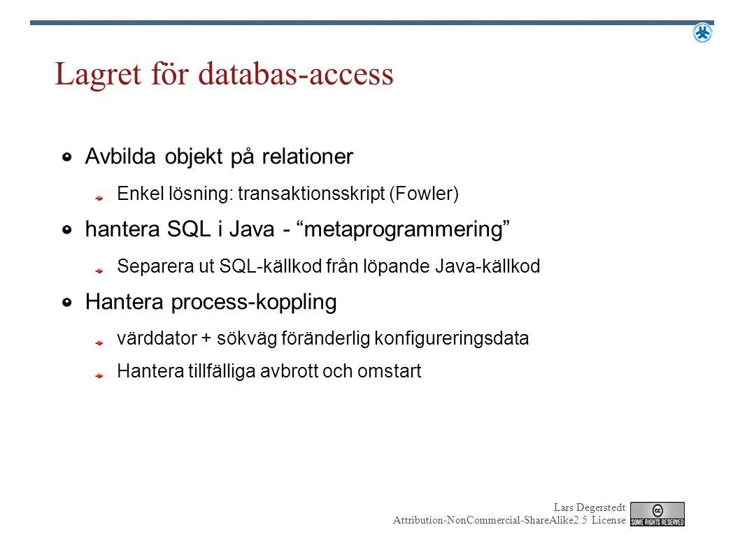 Lars Degerstedt Attribution-NonCommercial-ShareAlike2.5 License Lagret för databas-access Avbilda objekt på relationer Enkel lösning: transaktionsskri