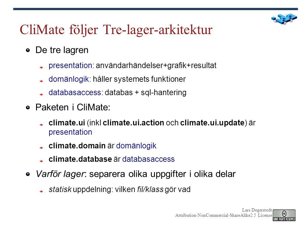 Lars Degerstedt Attribution-NonCommercial-ShareAlike2.5 License Viktiga domänklasser i CliMate ObservationFile FileCollection Observation 1 n 1 n METDATA97010100 METDATA97010103.utf-16 METDATA97010106...