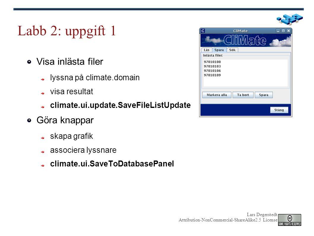 Lars Degerstedt Attribution-NonCommercial-ShareAlike2.5 License JButton: grafik och swing-lyssnare javax.swing.JButton: skapar en knapp ex: JButton b = new JButton( I m a Swing button! ); javax.swing.AbstractAction gör subklass ger en ActionListener se t ex ReadFileAction tilldela en lyssnare till en knapp ex: b.addActionListener(listener) CliMate använder metadata för text ex: metaData.get JButton JLabel JFrame Använd javadoc!