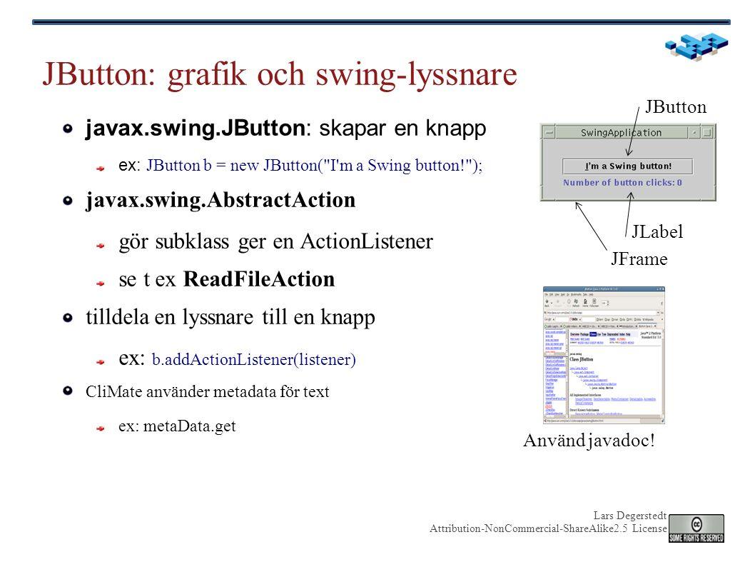 Lars Degerstedt Attribution-NonCommercial-ShareAlike2.5 License JButton: grafik och swing-lyssnare javax.swing.JButton: skapar en knapp ex: JButton b