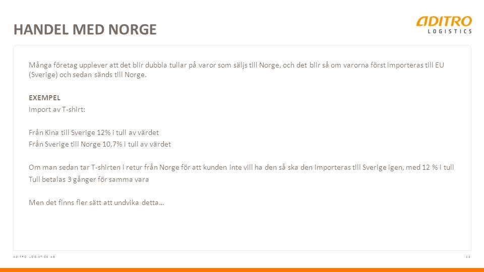 12ADITRO LOGISTICS AB Många företag upplever att det blir dubbla tullar på varor som säljs till Norge, och det blir så om varorna först importeras till EU (Sverige) och sedan sänds till Norge.