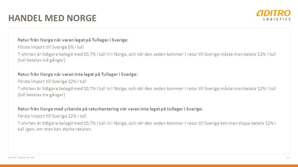 14ADITRO LOGISTICS AB Retur från Norge när varan legat på Tullager i Sverige: Första import till Sverige 0% i tull T-shirten är tidigare belagd med 10,7% i tull in i Norge, och när den sedan kommer i retur till Sverige måste man betala 12% i tull (tull betalas två gånger) Retur från Norge när varan inte legat på Tullager i Sverige: Första import till Sverige 12% i tull T-shirten är tidigare belagd med 10,7% i tull in i Norge, och när den sedan kommer i retur till Sverige måste man betala 12% i tull (tull betalas tre gånger) Retur från Norge med yrkande på returhantering när varan inte legat på tullager i Sverige: Första import till Sverige 12% i tull T-shirten är tidigare belagd med 10,7% i tull in i Norge, och när den sedan kommer i retur till Sverige kan man slippa betala 12% i tull igen, om man kan styrka returen.