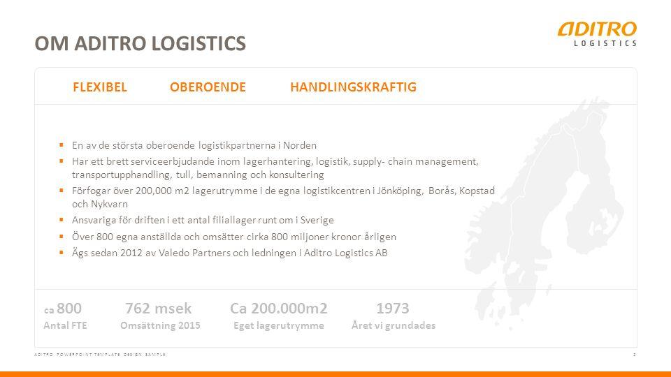 2 ADITRO POWERPOINT TEMPLATE DESIGN SAMPLE OM ADITRO LOGISTICS FLEXIBELOBEROENDEHANDLINGSKRAFTIG ca 800 Antal FTE 762 msek Omsättning 2015 Ca 200.000m2 Eget lagerutrymme 1973 Året vi grundades  En av de största oberoende logistikpartnerna i Norden  Har ett brett serviceerbjudande inom lagerhantering, logistik, supply- chain management, transportupphandling, tull, bemanning och konsultering  Förfogar över 200,000 m2 lagerutrymme i de egna logistikcentren i Jönköping, Borås, Kopstad och Nykvarn  Ansvariga för driften i ett antal filiallager runt om i Sverige  Över 800 egna anställda och omsätter cirka 800 miljoner kronor årligen  Ägs sedan 2012 av Valedo Partners och ledningen i Aditro Logistics AB