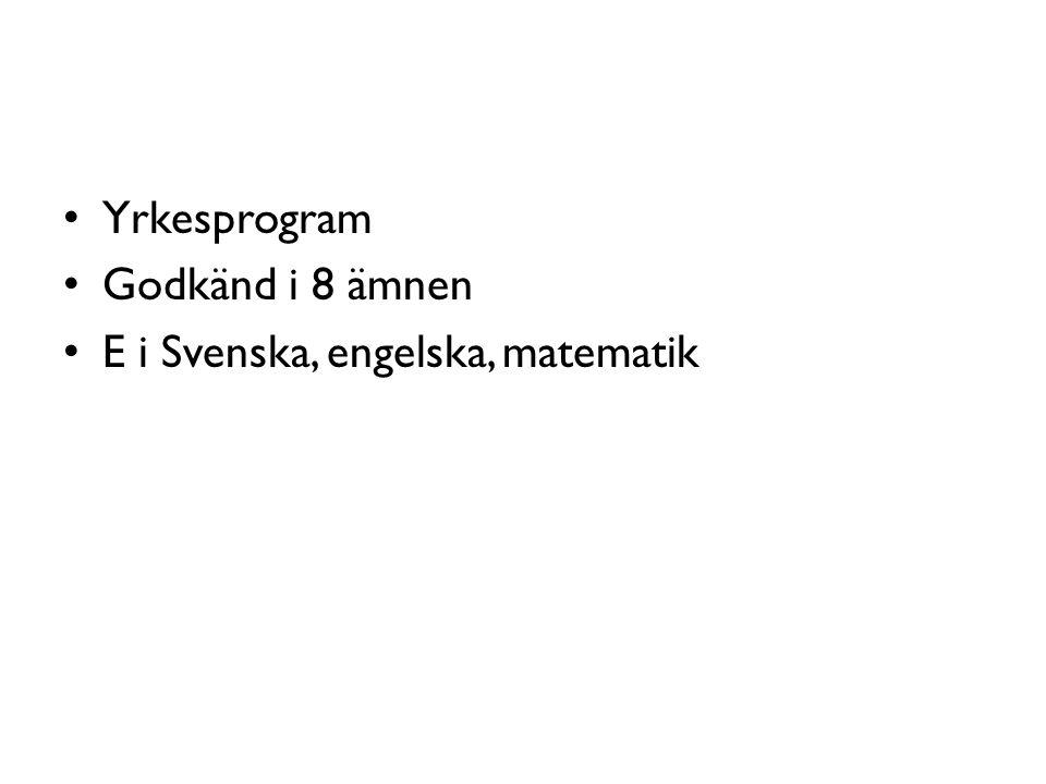 Yrkesprogram Godkänd i 8 ämnen E i Svenska, engelska, matematik