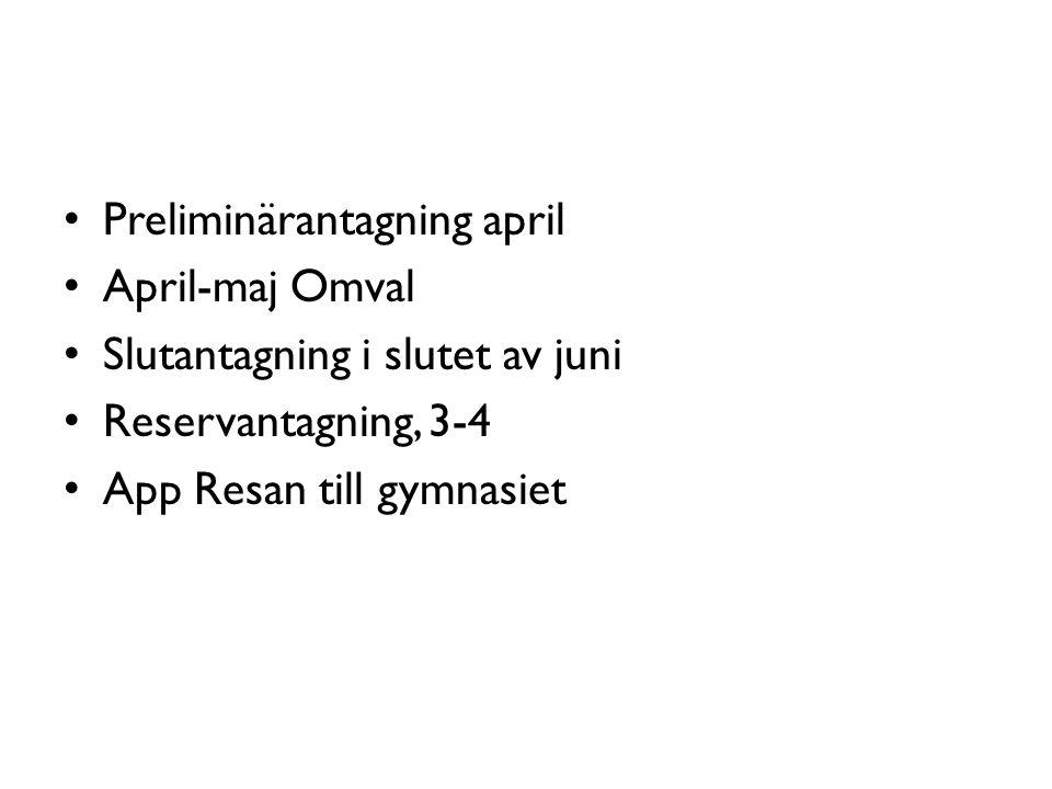 Preliminärantagning april April-maj Omval Slutantagning i slutet av juni Reservantagning, 3-4 App Resan till gymnasiet