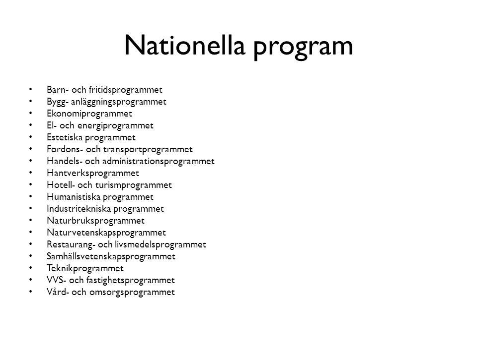 Nationella program Barn- och fritidsprogrammet Bygg- anläggningsprogrammet Ekonomiprogrammet El- och energiprogrammet Estetiska programmet Fordons- oc