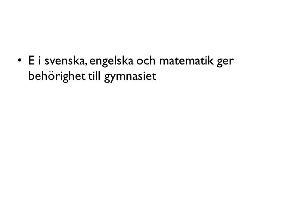 E i svenska, engelska och matematik ger behörighet till gymnasiet