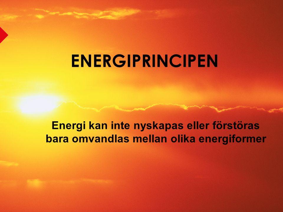 Energiformer Strålningsenergi kommer från t.ex.solen Kemisk energi t.ex.