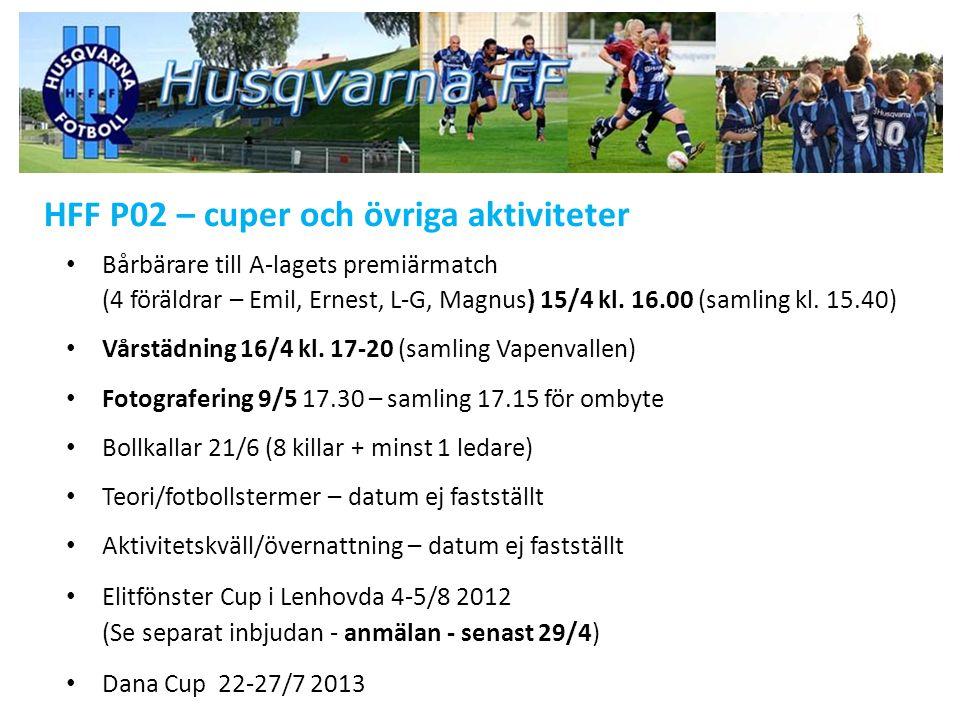 HFF P02 – cuper och övriga aktiviteter Bårbärare till A-lagets premiärmatch (4 föräldrar – Emil, Ernest, L-G, Magnus) 15/4 kl.