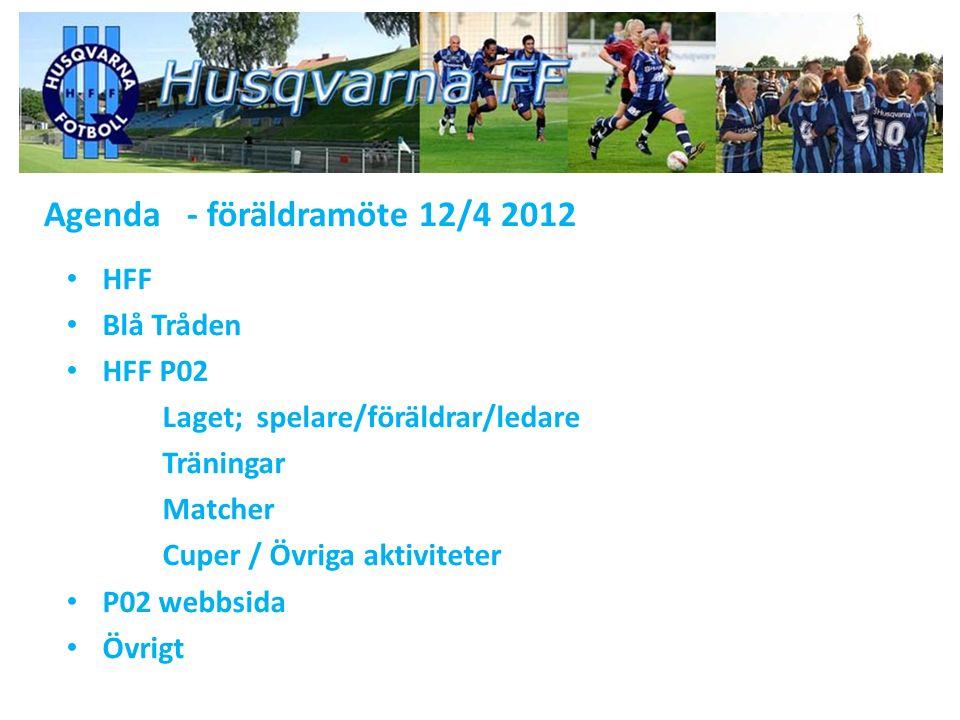 Agenda - föräldramöte 12/4 2012 HFF Blå Tråden HFF P02 Laget; spelare/föräldrar/ledare Träningar Matcher Cuper / Övriga aktiviteter P02 webbsida Övrigt