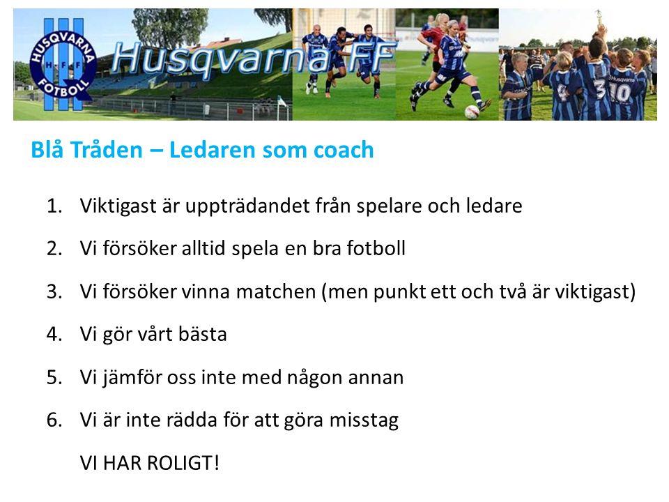 Blå Tråden – Inlärningsfasen, 9-10 år Delmål - Genom lekfull träning stimulera barnens intresse för fotboll.