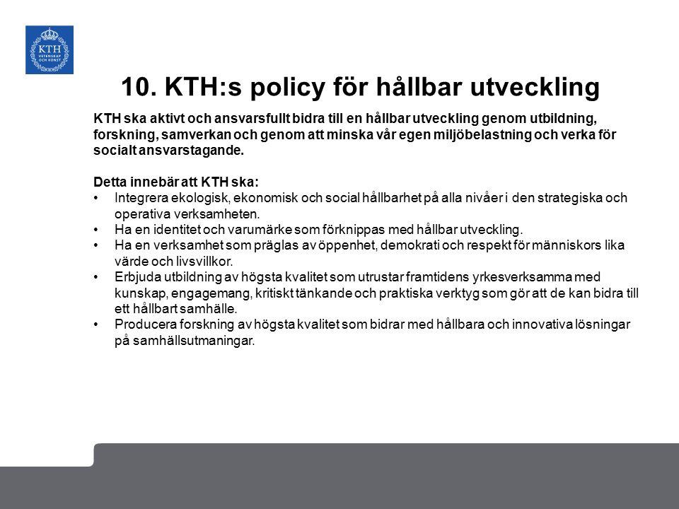 10. KTH:s policy för hållbar utveckling KTH ska aktivt och ansvarsfullt bidra till en hållbar utveckling genom utbildning, forskning, samverkan och ge