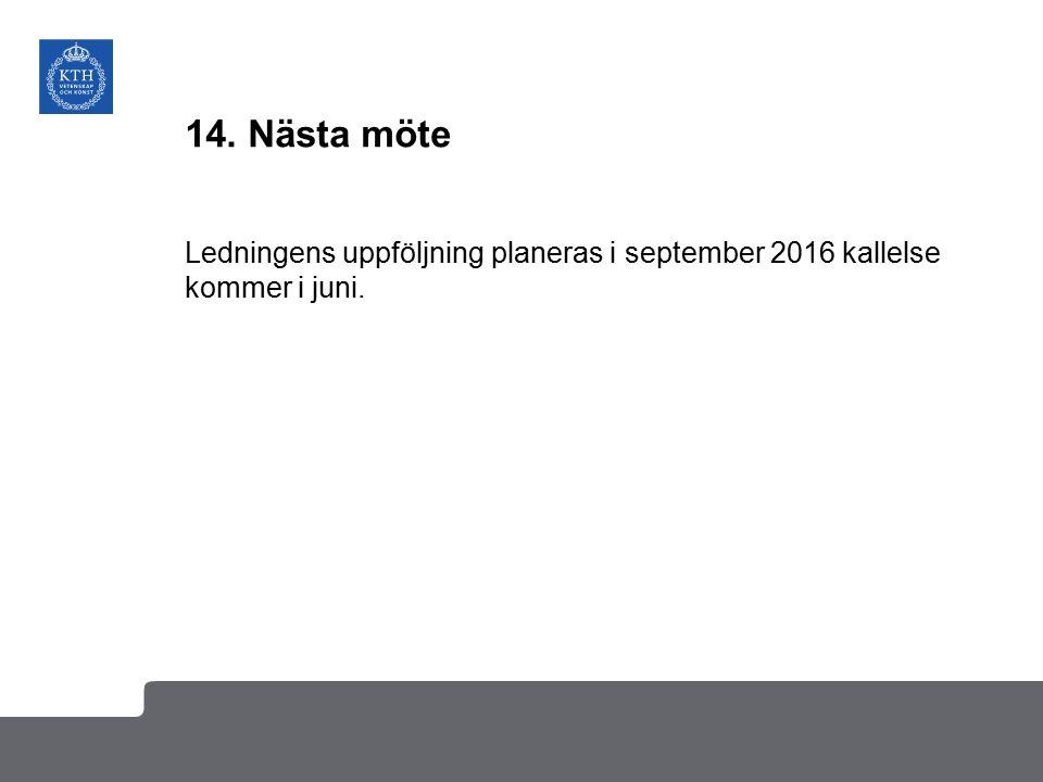 14. Nästa möte Ledningens uppföljning planeras i september 2016 kallelse kommer i juni.