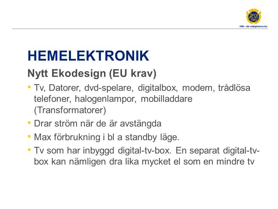 HEMELEKTRONIK Nytt Ekodesign (EU krav) Tv, Datorer, dvd-spelare, digitalbox, modem, trådlösa telefoner, halogenlampor, mobilladdare (Transformatorer)