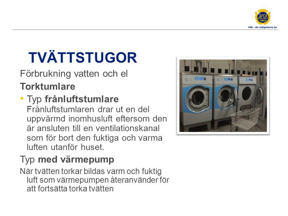 TVÄTTSTUGOR Förbrukning vatten och el Torktumlare Typ kondenstumlare Fukten som samlas upp leds ut via avloppet istället för att släppas ut i rumsluften Torktumlare med 6 kilo tvätt ska torka c:a 3 liter vatten