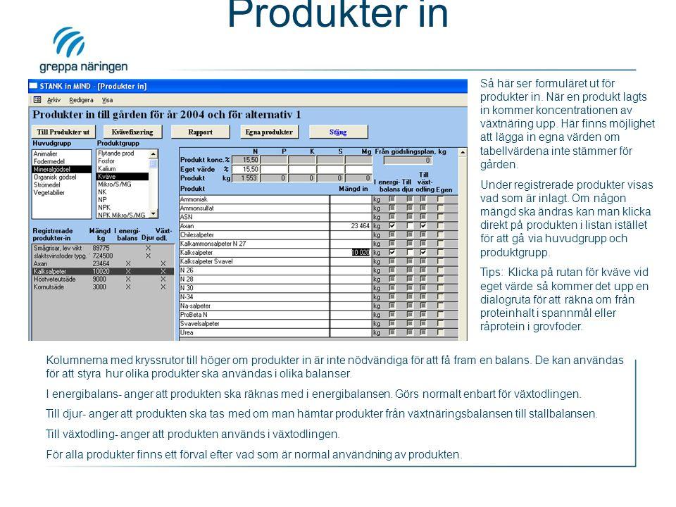 Produkter in Kolumnerna med kryssrutor till höger om produkter in är inte nödvändiga för att få fram en balans.