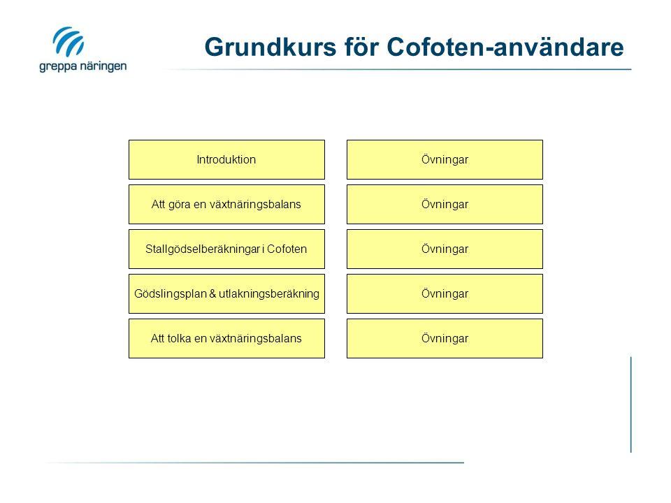 Grundkurs för Cofoten-användare Introduktion Stallgödselberäkningar i Cofoten ÖvningarAtt tolka en växtnäringsbalans Att göra en växtnäringsbalansÖvningar Gödslingsplan & utlakningsberäkningÖvningar