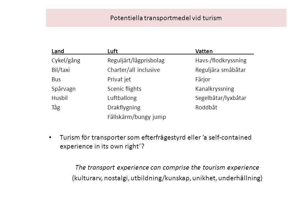 Potentiella transportmedel vid turism LandLuftVatten Cykel/gångReguljärt/lågprisbolagHavs-/flodkryssning Bil/taxiCharter/all inclusiveReguljära småbåt